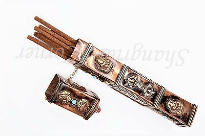 Handcrafted Traditional Tibetan Nepalese Rectangle Incense Holder Copper Brass