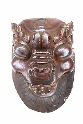 Old Tibetan Protection Singha Lion Dragon Tantric Wood Mask Mid-19th cent. Nepal