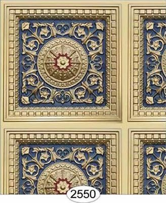 Dollhouse Wallpaper Ceiling Rosette Panel Copper & Navy Blue