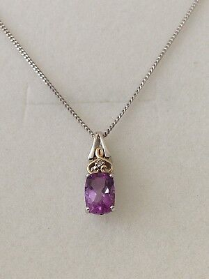 Beautiful 9ct Gold & Sterling Silver Diamond  Amethyst  Pendant and Chain,