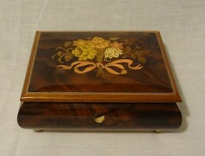 "VINTAGE ITALIAN INLAID WOOD MUSIC BOX PLAYS ""HAPPY WANDERER"" Sankyo Japan Movmnt"