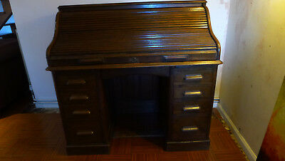 Vintage oak roll top bureau desk