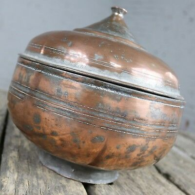Antique Turkish Copper Medium Sized Footed Bowl with Lid Hand Forged Incised Tin