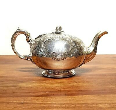 Superb Antique VICTORIAN SILVER PLATED CHASED COFFEE TEA TEAPOT