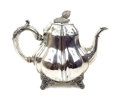 Superb Antique VICTORIAN SILVER PLATED COFFEE TEA TEAPOT