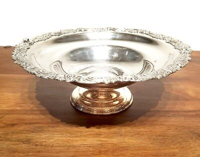 Superb LARGE SILVER PLATED FOOTED BOWL TAZZA FRUIT SERVING DISH CENTREPIECE