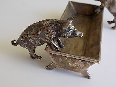 Edwardian c.1902 Alexander Clarks Sterling Silver Pigs Trough desk dish tray
