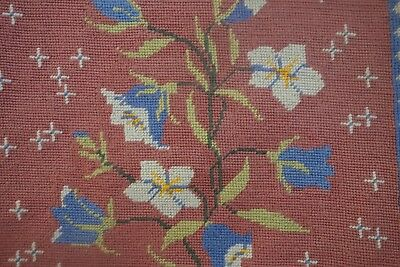 Vintage Needlepoint Tapestry Embroidered Cushion Cover Floral Pattern Wool 39x37