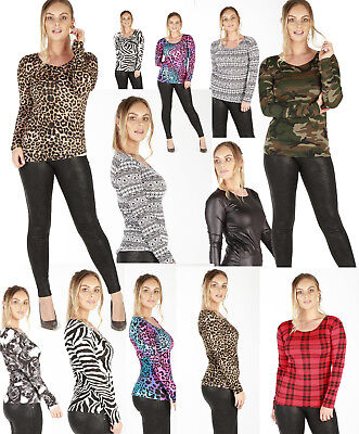 New Ladies Women Zebra Camo Skull Print Girls Crew Neck Top Shirts Vest Blouse