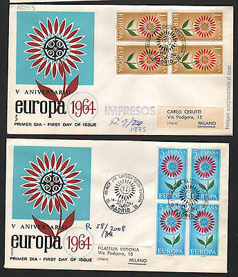PG-A053 SPAIN - Europa Cept, Fdc Covers, 1964 Madrid Block Of 4 To Italy