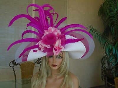 Pink Kentucky derby dress formal wide brim large big floral flowers ascot white