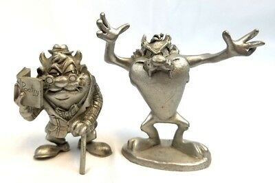 Set of 2 Tas Tasmanian Devil Rawcliffe Pewter Figurine Warner Brothers