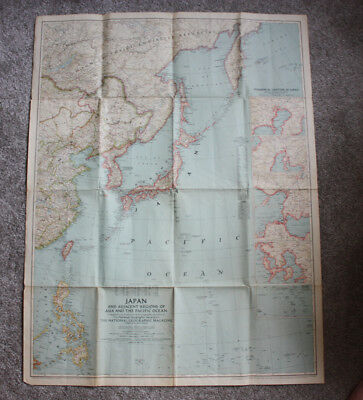 Vintage 1944 National Geographic Map Japan, the Pacific WWII