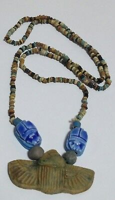 "Egyptian Pharaoh's Necklace, Mummy Beads Terracotta 28"", Beetle Scarab/H"
