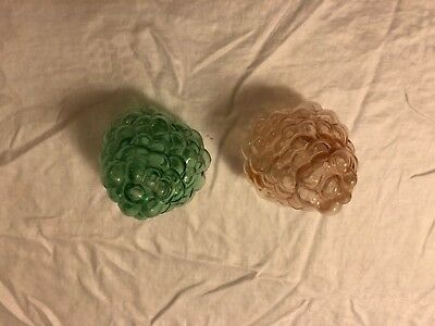 Pair of Antique Rare Fine Green and pink Glass Grape Cluster Shape Lamp Shade