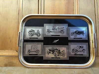 Vintage Woodmet Serving Tray With Cars.ideal Bar Item
