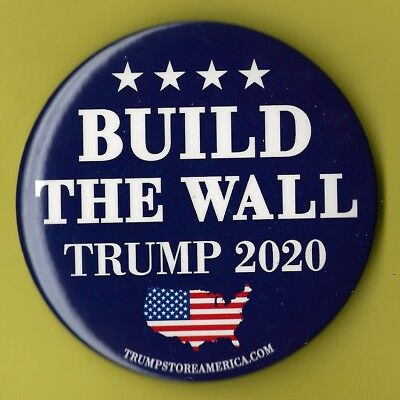 """2020 Donald Trump 3"""" / """"Build The Wall"""" Presidential Campaign Button(Pin 10)"""