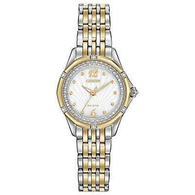 Citizen Eco-Drive Women's EM0374-50A Diamond Accent Two-Tone Bracelet 30mm Watch