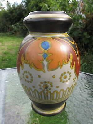 "Large 8"" Antique  Holland Gouda Vase  Anette #1203"