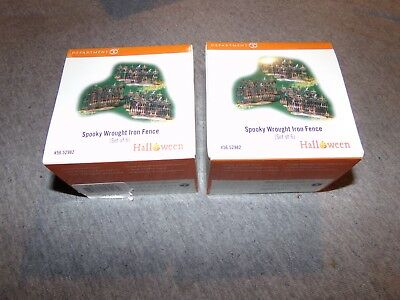 Lot of 2 Dept 56 SPOOKY WROUGHT IRON FENCE Set of 6 12 total HALLOWEEN