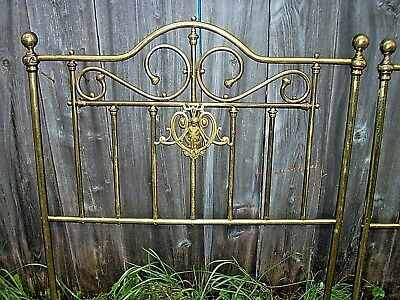 Antique Matching Pair Twin Brass Bed Head Boards w/ ANGELS Vintage Unusual