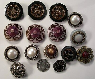 15 fancy ornate vintage old plastic antique brown buttons sculpted carved