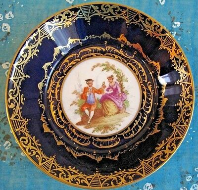 Antique 19th Royal Vienna Cobalt Blue&Gold Plate/Bowl Hand Painted plate