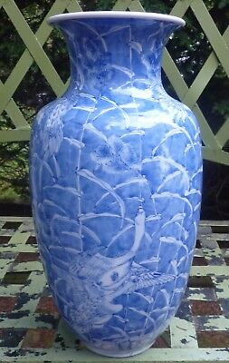 Antique Japanese blue & white vase artist signed geese 19thC 14.5 inch pottery