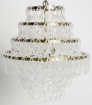 "24"" ChandlierGlass Cascading Upon Metal Frame Antique Brass Four Tier"