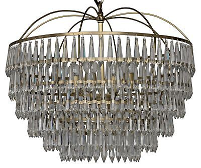 """20"""" Chandlier Clear Glass Crystals Hang from 6 Tier Antique Brass Frame"""