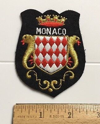 MONACO Crown Coat of Arms Crest Embroidered Black Felt Patch Badge Shield