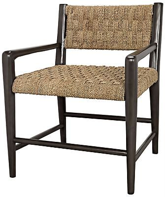"""31"""" Set of 2 Occasional Chair Solid Mahogany Sleek Black Finish Woven Seagrass"""