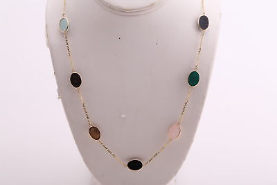 Vintage 14K Gold Egyptian Multi Color Stone Scarab Beetle HAND CARVED NECKLACE