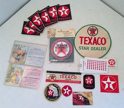 Vintage Texaco Gas Oil Advertising Lot. Patches, Early Post Cards, Other Misc.