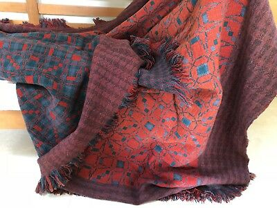 Antique 100 Year Old Collectible Welsh Wool Tapestry Blanket~c1920s