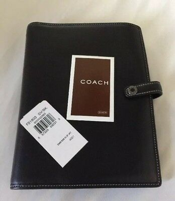 """Vintage Coach Black Leather Day Planner Agenda Journal Diary 4"""" x 7"""" Beautiful"""