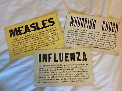 """Vintage Lot 7x11"""" Whooping Cough Measles Influenza Cardboard Quaranteen Signs"""