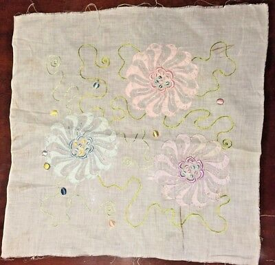 """Antique Handmade Embroidered Square Quilt Pillow Sewing 21""""x21"""" Unfinished"""
