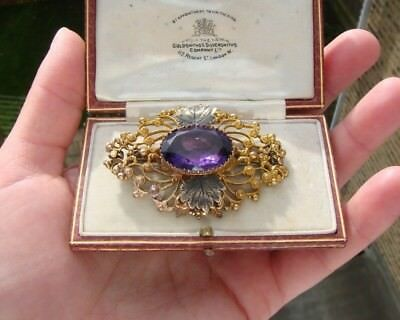 Antique Late Georgian Early Victorian Pinchbeck & Amethyst Paste Brooch