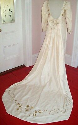 Silk Vintage Wedding Dress Train Regency Medieval Gold Embroidery Pearls M 8 10