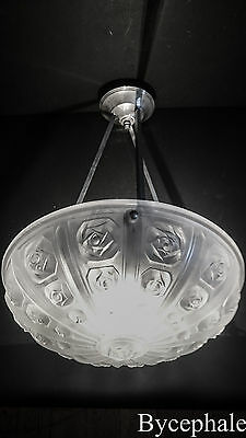 FRENCH ART DECO CHANDELIER SIGNED MODERNIST WHITE FROSTED GLASS cubist roses
