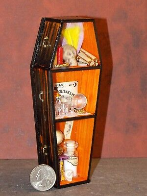 Dollhouse Miniature Halloween Wood Coffin Shelf Orange 1:12 one inch scale D67