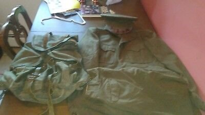 Vintage World War II WW2 US Army Wool Uniform - Coat, Shirt, Pants, Hat, Rugsack