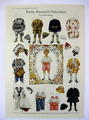 Adorable Vintage February 1918 Betty Bonnets Valentine Paper Doll Magazine Page