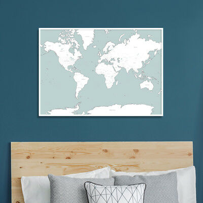 Large A1 Pale Blue & White Map of the World Poster Print Wall Art Travel