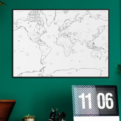 Large A1 White Outlined Map of the World Poster Print Wall Art Travel