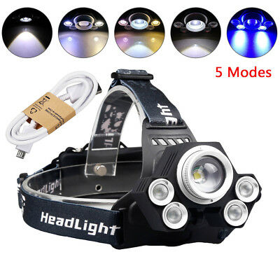 80000Lumens Zoomable LED USB Rechargeable Headlamp 4 Modes 5 T6 Headlight 18650