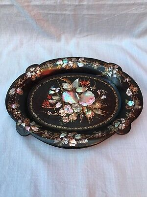 Antique Victorian Black Paper Mache Tray With MOP & Gilt Polychrome Detail