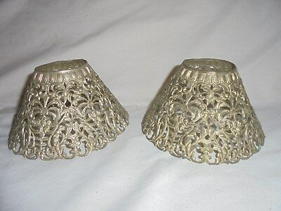 Antique vintage silverplate filigre pair of lamp shades