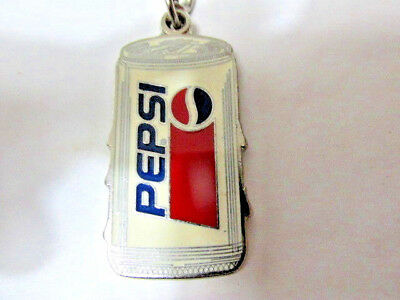 NEW Very Rare Pepsi Cola Soda Can Metal Silver tone Enamel KEYCHAIN